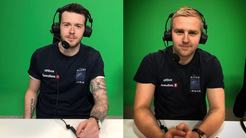 Ekspertkommentatorene på Dplay for eSerien: Yngve Gjerde (t.v.) og Jonas Gjøen (t.h.)