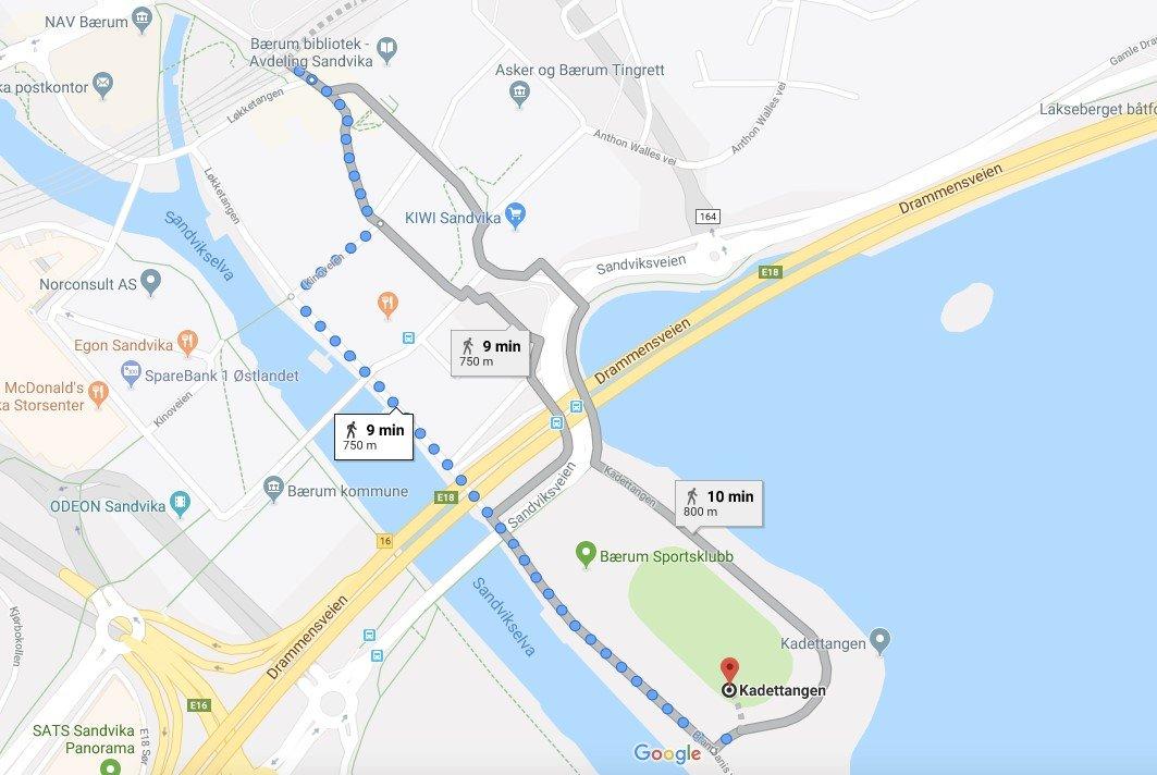 Kart til Sandvika Stadion