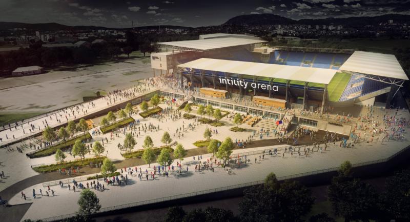 Slik blir stadion med det nye navnet seende ut fra torget (Skisse produsert av NXT)