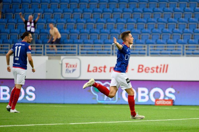 Henrik Udahl satte to mot Sarpsborg 08 (Foto: Morten Mitchell Larød / SPORTFOTO)