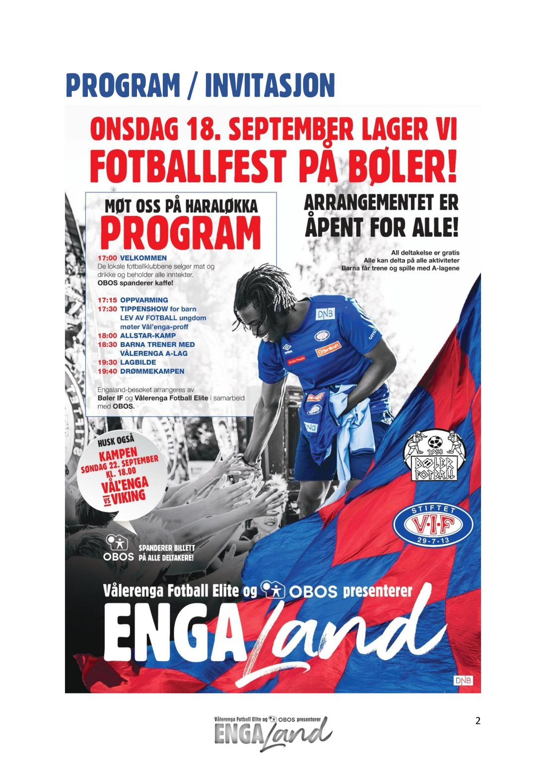 Program Engaland Bøler 2019