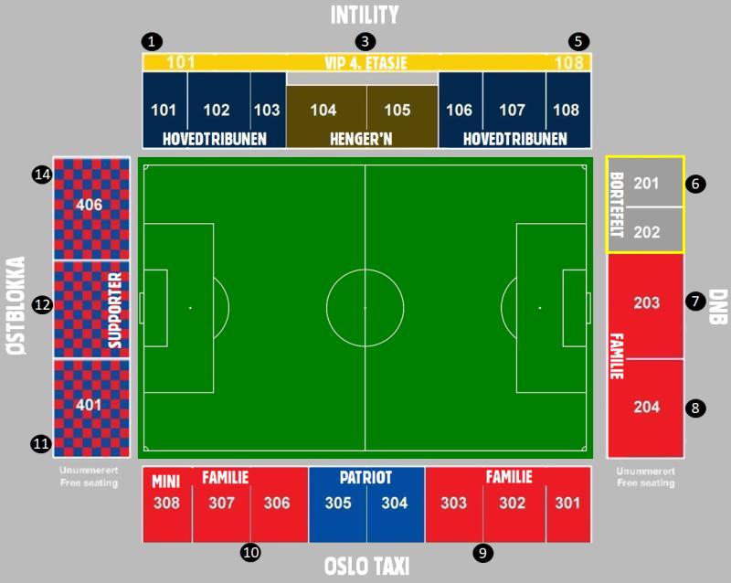 Vi åpner Supporter, Patriot, Familie (306-308) og VIP 4. etasje for salg.