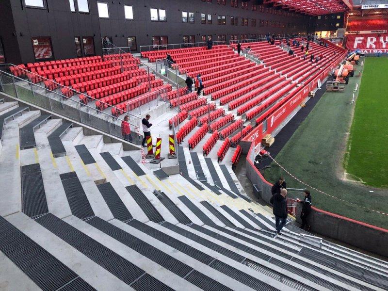 Slik ser det ut på bortefeltet på Brann stadion (Foto: Brann SK)