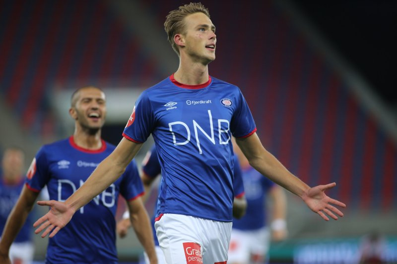 Magnus Retsius Grødem jubler for 2-0-scoringa mot Tromsø (Foto: Geir Olsen / NTB scanpix)